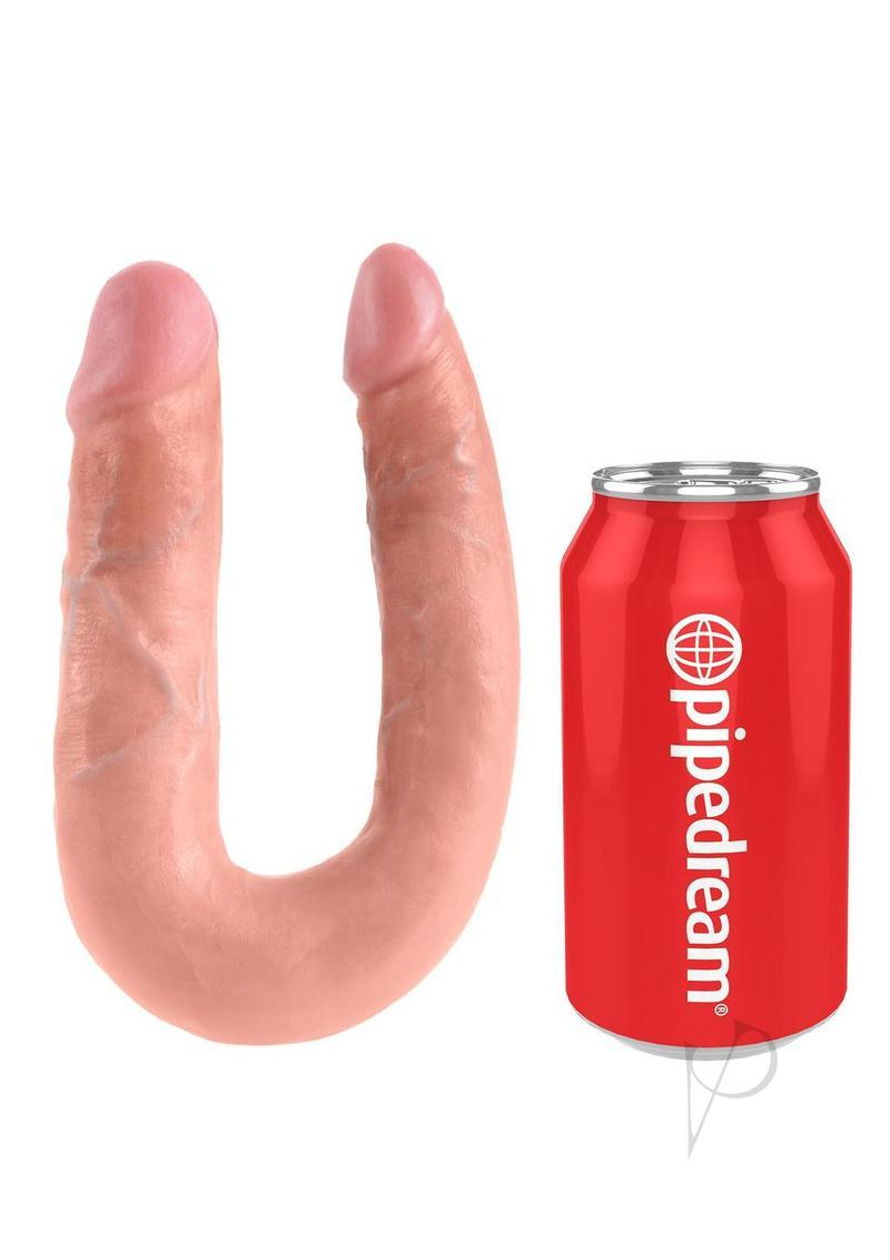 King Cock U-shaped Medium Double Trouble Dildo - Vanilla
