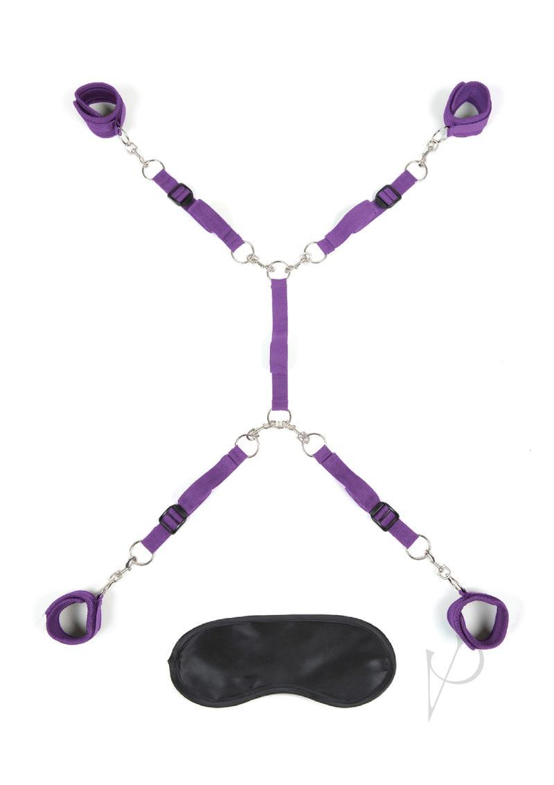 Lux Fetish Bed Spreader 7pc Kit Playful Restraint System  Purple